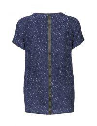 Billede af blå silke t-shirt med hvide prikker