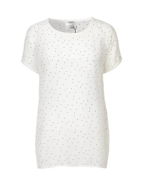 Billede af hvid silke t-shirt med sorte prikker