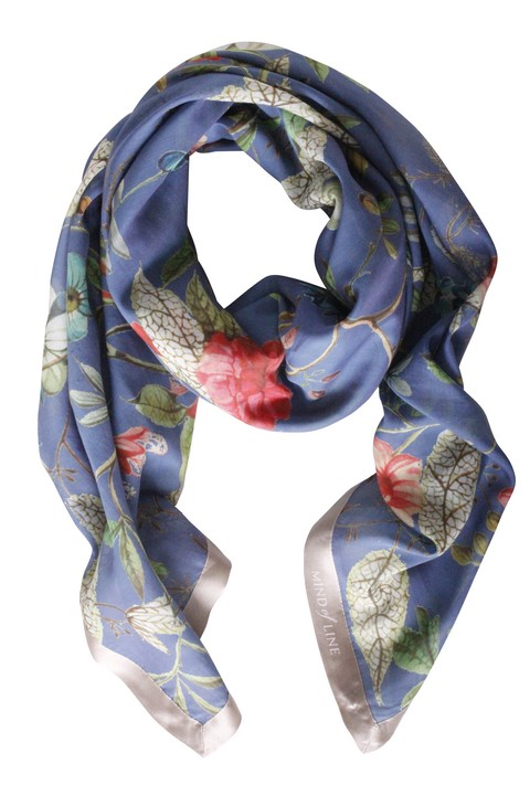 Silke/bomuld tørklæde med blomster