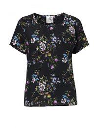 Blomsterprintet silke t-shirt
