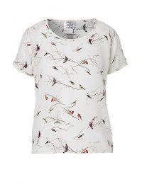 Mind of Line fugleprintet t-shirt i silke