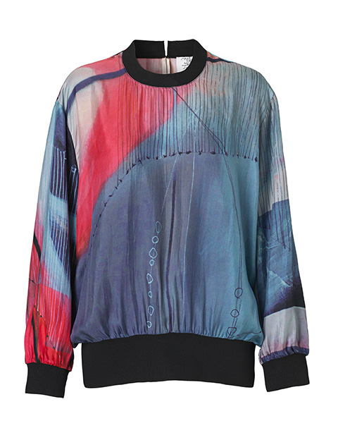 Kunstprint silke Mind of Line bluse