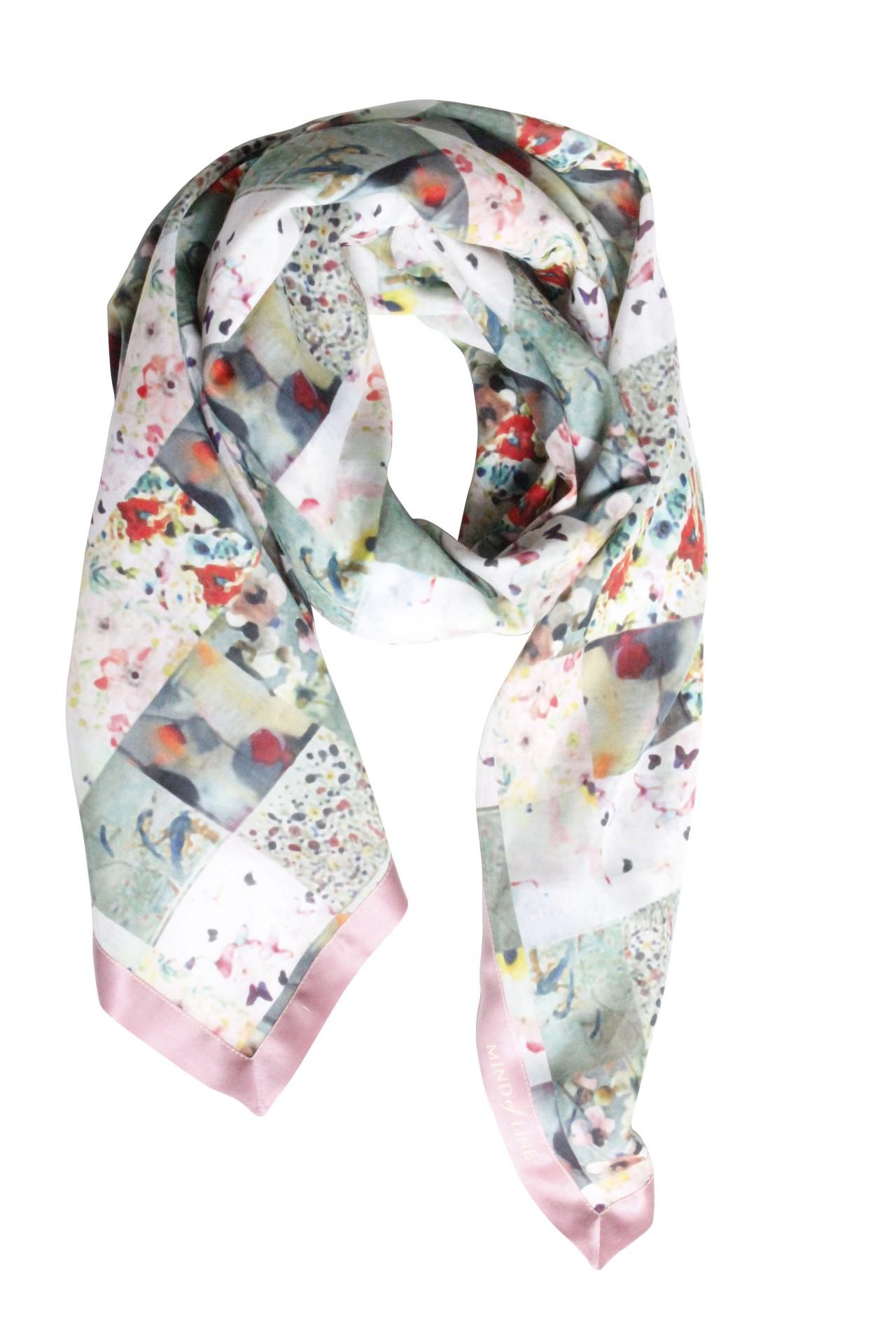 Patchworkprint tørklæde i silke og bomuld