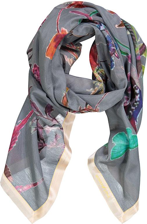 Tørklæde printet med blomster og fugle