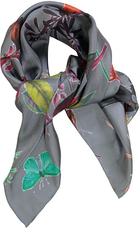 Blomstret silketørklæde