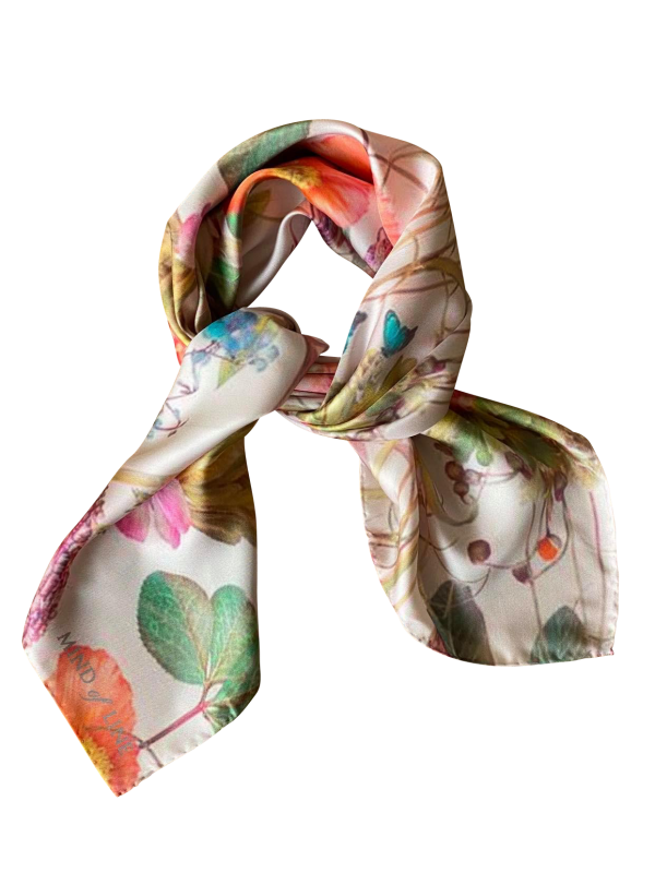 Mind of Line blomsterprintet silketørklæde