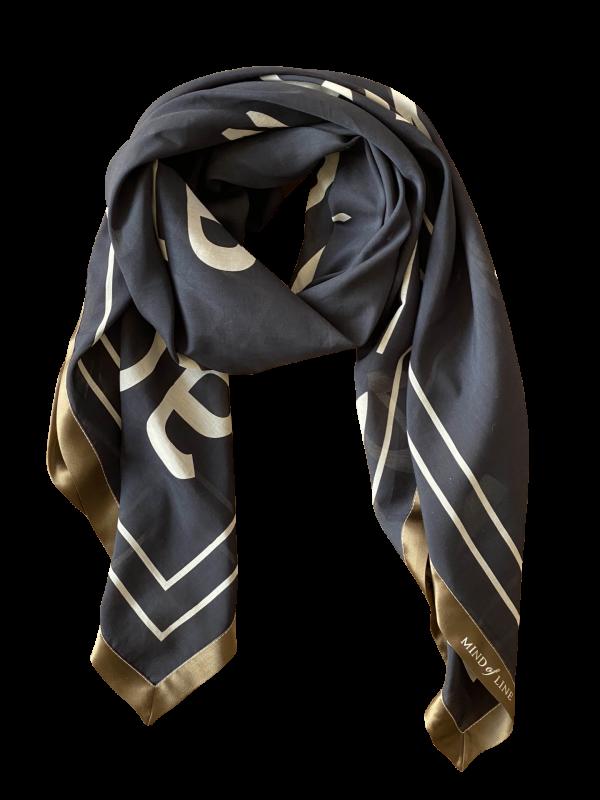 Tekst printet silke/bomulds tørklæde fra Mind of Line